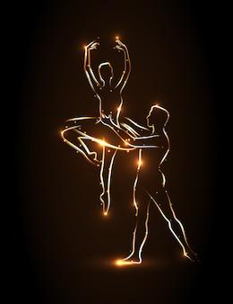 Balet. balerina i tancerz trzymają partnera w talii podczas skoku, wykonują pas. streszczenie sylwetka tancerzy ze złotym konturem na brązowym tle. partnerka baletnicy uniosła się w jego ramionach.