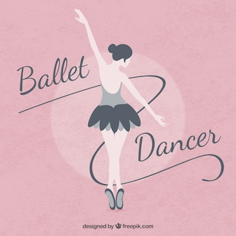 Balet baleriny na różowym tle w płaskiej konstrukcji