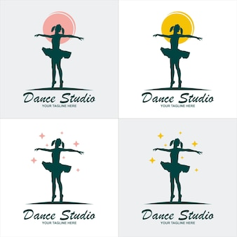Balet dance studio logo symbol elementu szablonu z luksusowym kolorem gradientu