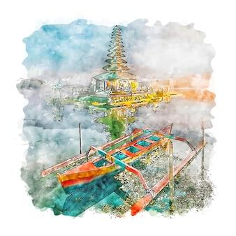 Bali indonezja szkic akwarela ręcznie rysowane ilustracja