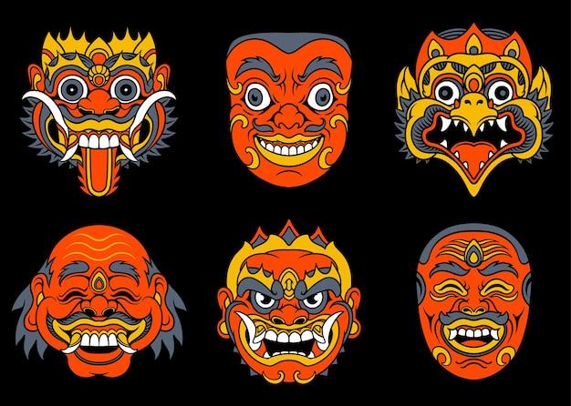Bali tradycyjne maski zestaw ilustracji wektorowych vector