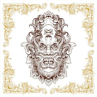 Balijska maska demona ręcznie rysowane ozdobny wzór vintage