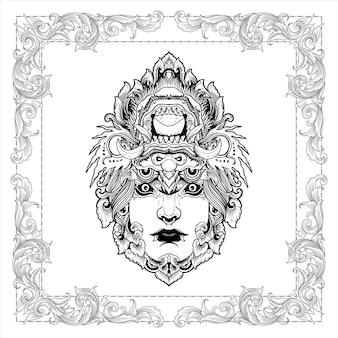 Balijski demon dziewczyna vintage design