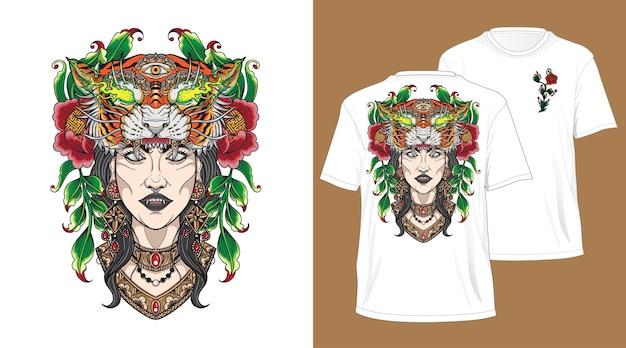 Balijski tygrys głowa dziewczyna projekt na tshirt biały