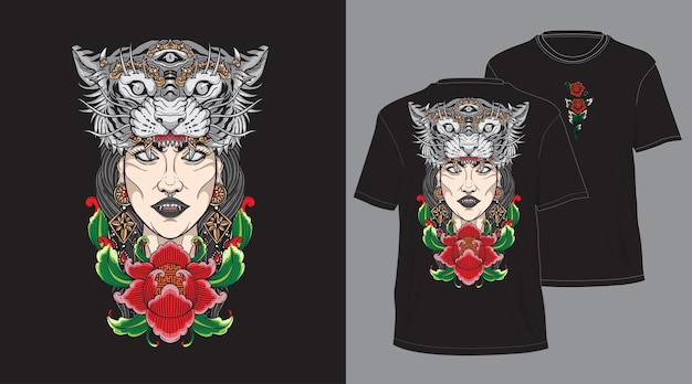 Balijski Tygrys Głowa Dziewczyna Projekt Na Tshirt Czarny Premium Wektorów
