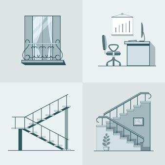 Balkon biuro pracy drabina liniowy zarys architektury zestaw elementów budynku.
