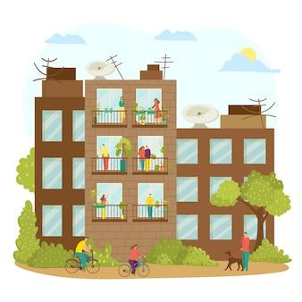 Balkon domu z postacią kobiety-mężczyzny na zewnątrz, okno budynku na ilustracji miasta. mieszkanie w domu postaci ludzi w quarnitine. sąsiedztwo przez ścianę, tło ulicy.