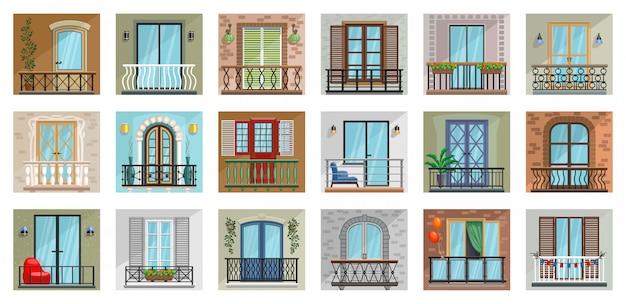 Balkon kreskówka zestaw ikon.
