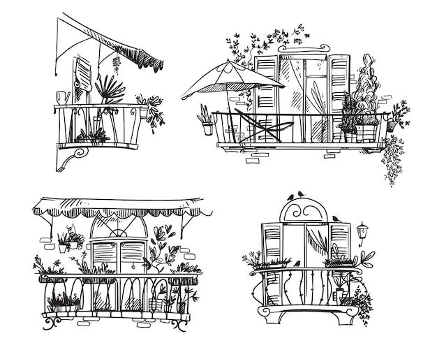 Balkon w ogrodzie. zestaw rysunków liniowych uroczych ogródków z roślinami doniczkowymi uprawianymi na balkonach