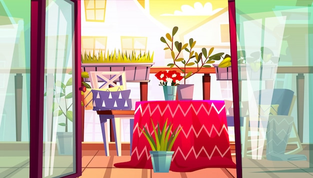 Balkon ze stołem i krzesłami ilustracja z domu taras od apartamentów
