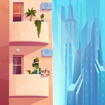 Balkony z roślinami i kwiatami, klimatyzatory na wielopiętrowym domu w kreskówce metropolii.