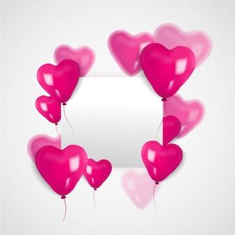Balon 3d serca i biały planszy na walentynki