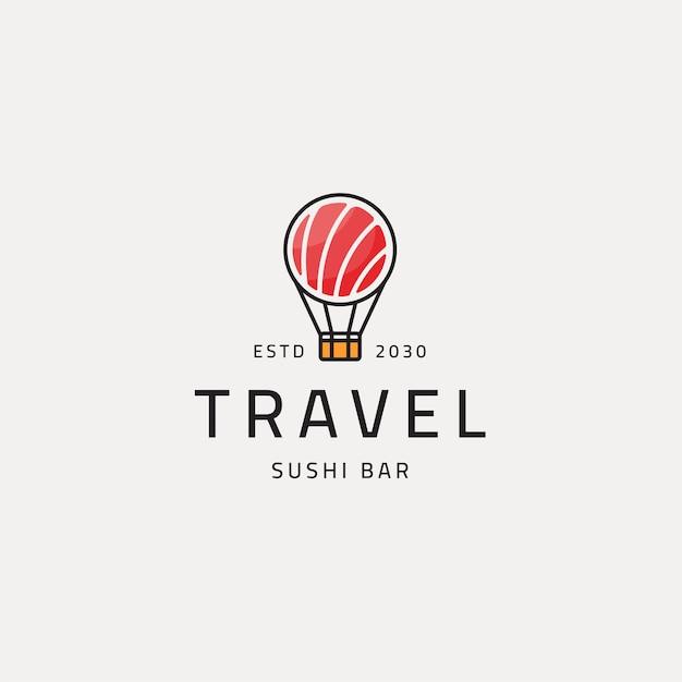Balon i sushi podróży jedzenie logo ikona szablon projektu ilustracji wektorowych