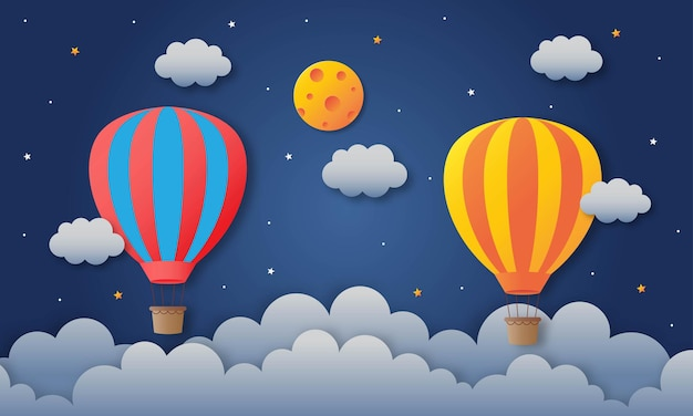 Balon latający na nocnym niebie papierowa podróż.