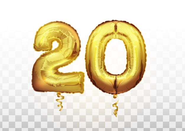 Balon metaliczny złotej folii numer 20 dwadzieścia. strona dekoracji złote balony. rocznica znak na szczęśliwe wakacje, uroczystości, urodziny, karnawał, nowy rok. balon metaliczny.
