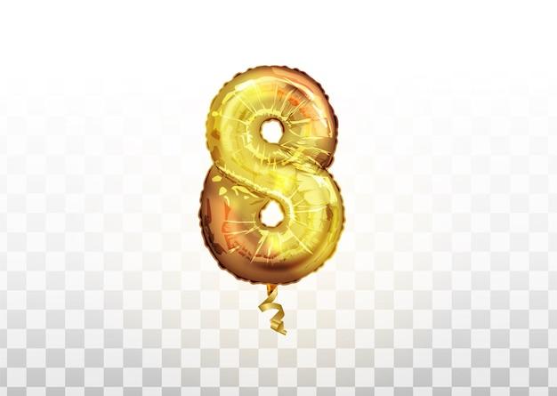 Balon metaliczny złoty numer osiem 8. strona dekoracji złote balony. rocznica znak na szczęśliwe wakacje, uroczystości, urodziny, karnawał, nowy rok.
