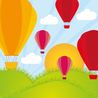 Balon na gorące powietrze i góry