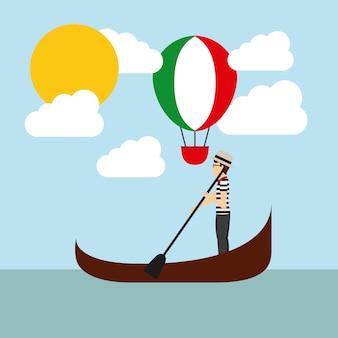 Balon na gorące powietrze i ikona catoon. projekt kultury włoskiej. wektor gr