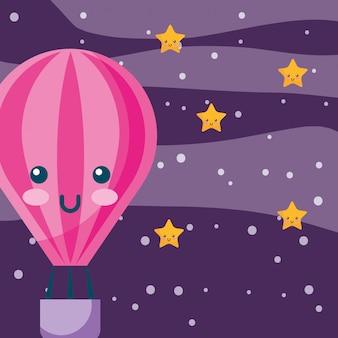 Balon na gorące powietrze kreskówka latający w niebo noc gwiazdy pogoda