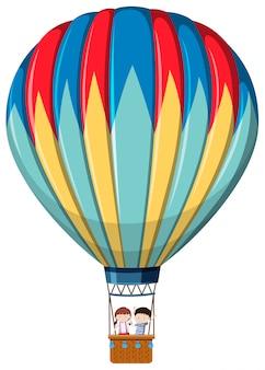 Balon na gorące powietrze na białym tle