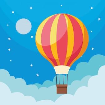 Balon na gorące powietrze na niebie