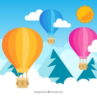 Balon na gorące powietrze podróż tło