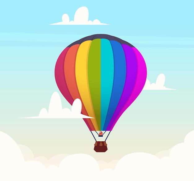 Balon na ogrzane powietrze na niebie. romantyczny lot w tle symboli podróży na zewnątrz chmury. ilustracja balonem, lot, latanie i eksploracja
