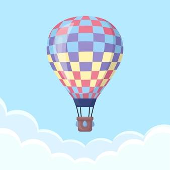 Balon na ogrzane powietrze na niebie z chmurami. . ilustracja