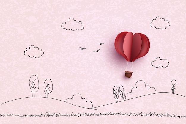 Balon na ogrzane powietrze w kształcie serca na niebie. styl rysowania ręcznego i wycinanki