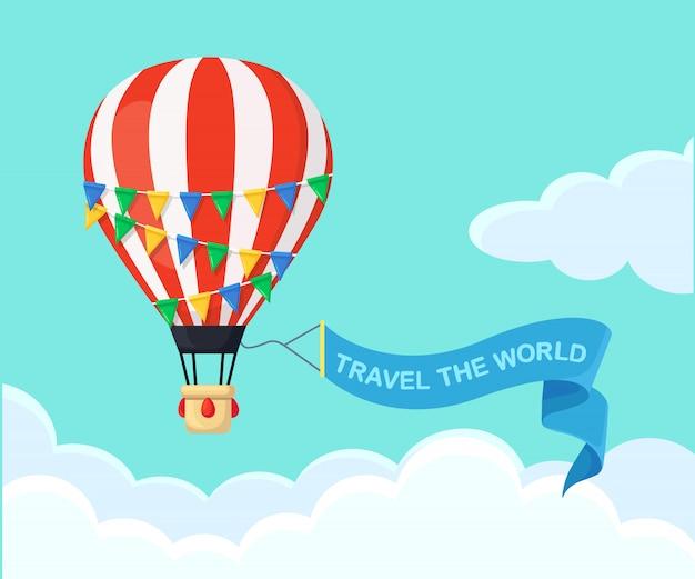 Balon na ogrzane powietrze w tle