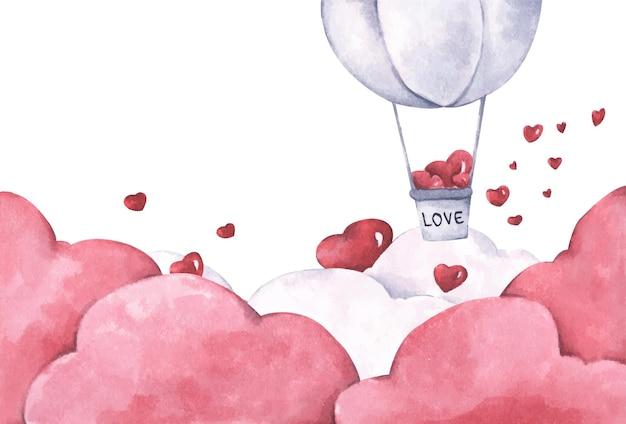 Balon na ogrzane powietrze z sercem unosi się na niebie. ilustracja miłości i walentynki. akwarela ilustracja.