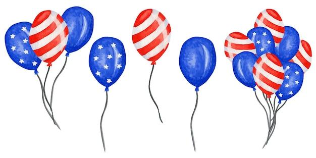 Balon patriotyczny. 4 lipca obchody święta ameryki akwarela dzień niepodległości usa