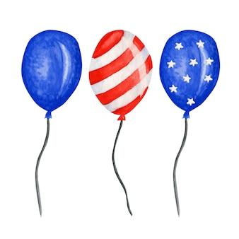 Balon patriotyczny. czwarty lipca ameryka święto impreza akwarela dzień niepodległości dekoracji usa. niebieskie czerwone gwiazdki paskują amerykańskie flagi w rodzaju balonów