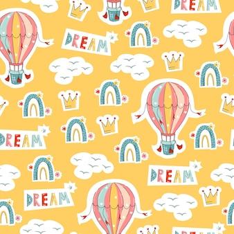 Balon Tęczowy Wzór W Stylu Kreskówka Ręcznie Rysowane Dla Przedszkola Na żółtym Tle Premium Wektorów