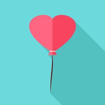 Balon w kształcie serca. płaski stylizowany obiekt z długim cieniem
