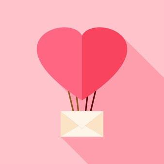 Balon w kształcie serca z kopertą. płaski stylizowany obiekt z długim cieniem