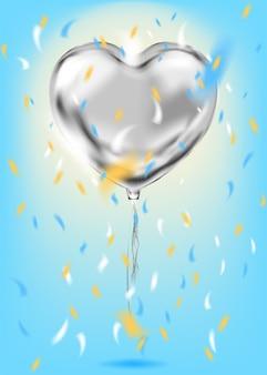 Balon w kształcie serca z srebrnej folii