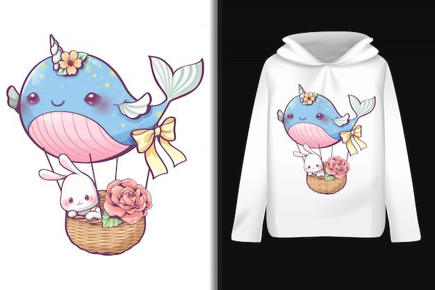 Balon wieloryba na bluzie z długim rękawem