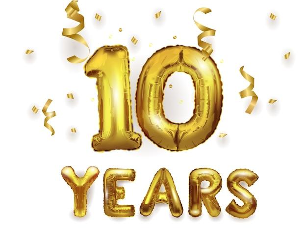 Balon z helem ze złotej folii numer 10 z prezentami. balon foliowy numer 10.