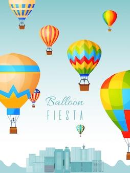 Balonowy festiwalu plakat, gorące powietrze piłki przejażdżki, płaska ilustracja. podróżuj nad krajobrazem miasta, zaprojektuj sztandar celebracja aeronauta.
