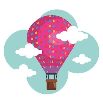 Balonowy lotniczy gorący latanie w niebie