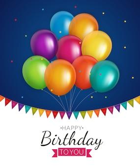 Balony błyszczące kolorowe tło urodziny