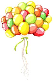 Balony coloful z zieloną wstążką