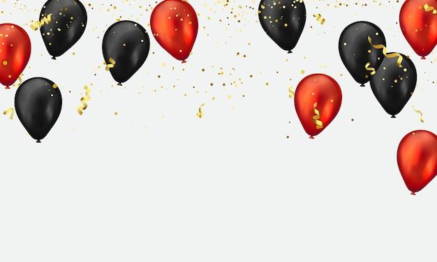Balony czerwono-czarne błyszczą złotym konfetti.