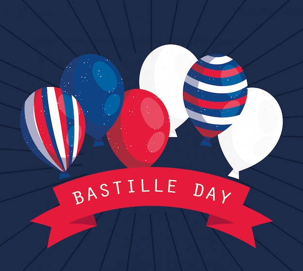 Balony francja ze wstążką szczęśliwego dnia bastylii