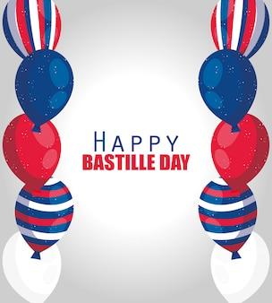 Balony francji szczęśliwego dnia bastylii
