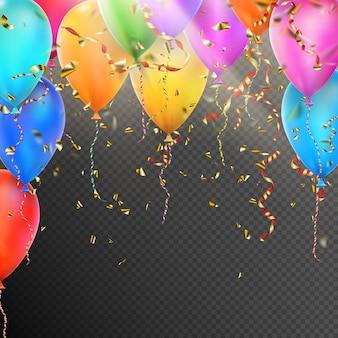 Balony, konfetti i czerwone złote wstążki.
