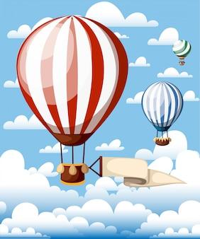 Balony na gorące powietrze. czerwony balonik ze wstążką na niebieskim niebie. ilustracja z chmurami w tle. strona internetowa i aplikacja mobilna