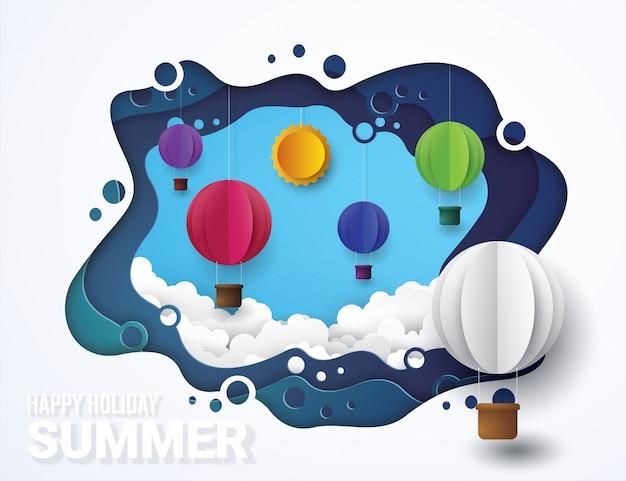 Balony na gorące powietrze i chmura. styl cięcia papieru.