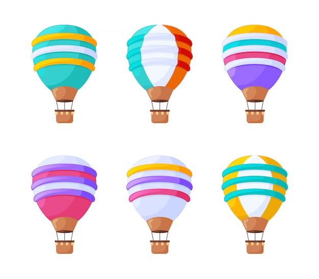 Balony na gorące powietrze zestaw płaskich ilustracji. kolorowego rocznika powietrzni pojazdy dla lotów odizolowywających na białym tle. ozdobne balony, sterowce z koszami projektują kolekcję elementów.